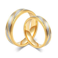 <b>New</b> Fashion Style Gold Plated <b>Titanium Steel Ring</b> Couple <b>Rings</b> ...