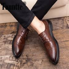 Tauntte Brogue Formal <b>Shoes</b> For Men Carved Business Wedding ...