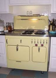 vintage kitchen appliance retro appliances: fully restored yellow c model range s chambers kitchen stove and nice floor