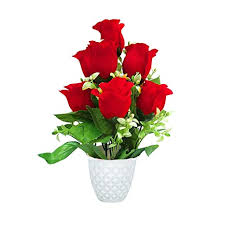 Buy Kitgohut Red <b>Rose</b> Bunch Artificial Flowers for <b>Home</b> ...