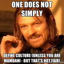 One does not simply define culture (unless you are Mamdani - but ... via Relatably.com