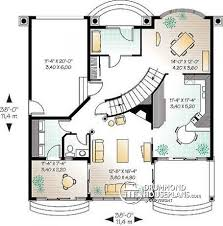 House plan W detail from DrummondHousePlans com    st level Spanish style house plan  bedrooms  terraces  great divided floor
