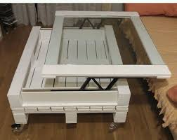 pallet furniture creative diy white table glass top moveable piece build pallet furniture