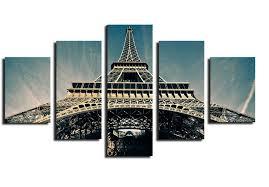 <b>5 Piece Hot Sell</b> Eiffel Tower Modern Home Wall Decor Canvas ...