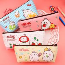 wholesale cute molang rabbit pu leather pencil case stationery storage box school office supply escolar papelaria gift stationery cheap leather office cheap office storage