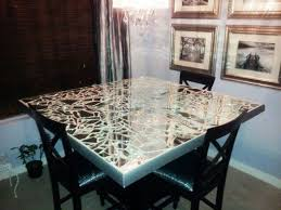 dining room table mirror top: diy broken mirror dining table top i didnt know there were others doing this til