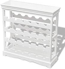 vidaXL <b>Wine Cabinet Abreu</b> White Storage Organiser Holder ...