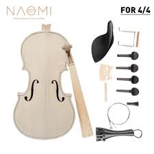 NAOMI DIY Violin <b>4/4 Full Size Natural</b> Solid Wood Acoustic Violin ...