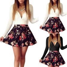 Цветочные печатные женщины V Шеи Низкий Cut <b>Платье High</b> ...
