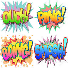 a selection of comic book exclamations and action words ouch a selection of comic book exclamations and action words ouch ping boing