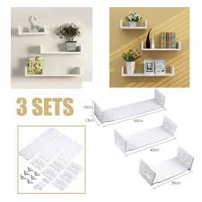 <b>Home&styling</b> 3x <b>Display Shelves</b> Paulownia Wood Wall Ledges ...