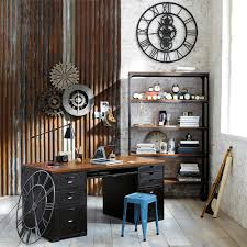 kitchen elegant industrial home interior design idea for home office with brown black desk blue chair and black open shelves alluring industrial home blue brown home office