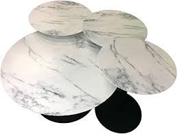 Leisure Space <b>4</b>-<b>pcs</b> Round Metal <b>Coffee Table</b> Set with Marble ...