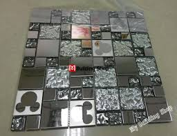 kitchen backsplash stainless steel tiles: d silver metal mosaic wall tile kitchen backsplash smmt stainless steel tiles metallic bathroom mosaic