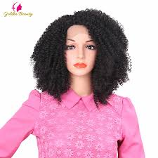 Golden Beauty <b>14inch Kinky Curly</b> Synthetic Lace Front Wig <b>Short</b> ...