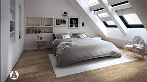 white attic bedroom slanted windows