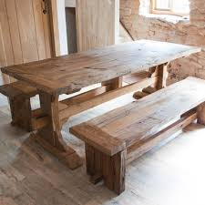 long wood dining table: reclaimed wood trestle dining table is also a kind of large reclaimed wood dining table elegant