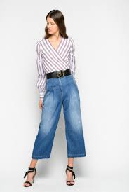 <b>Culotte</b>-style jeans in loosely woven <b>twill</b>