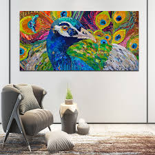 <b>SELFLESSLY</b> Big Size Colorful Peacock Canvas <b>Painting</b> Wall <b>Art</b> ...