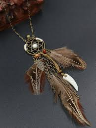 <b>Retro</b> Hollowed Feather <b>Tassel</b> Sweater Chain – Boholady