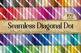 100 Seamless <b>Minimalist Craft</b> Diagonal <b>White</b> Polka Dot Paper