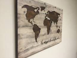 home canvas fun wall art ideas world map wall art spiritual vintage carved wood map his witness to th