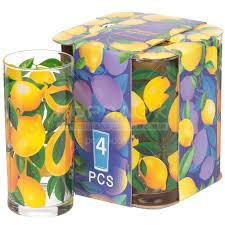 <b>Стакан стеклянный Декостек Лимоны</b> 148/4-Д, 4 шт, 280 мл в ...