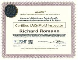 qualifications and certifications safe at home testing rich r o normi cert