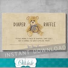 vintage teddy bear baby shower diaper raffle ticket insert 128270zoom