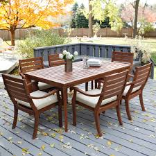 wood table set chairs outdoor furniture