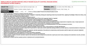 leader printed circuit board quality control resumegroup leader printed circuit board quality control resume