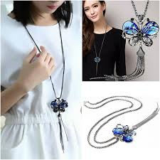 fashion butterfly pendant necklace retro hollow heart multi layer stereo disc necklaces accessories