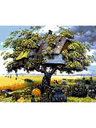 """<b>Картины</b> по номерам на холсте""""<b>Дом</b> на <b>дереве</b>"""", 40х50, gx3599 ..."""