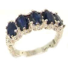 <b>925</b> Sterling <b>Silver Real Genuine</b> Sapphire Womens Band Ring ...