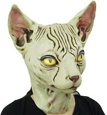 Hairless cat Latex Mask <b>Funny</b> Animal <b>Hood Halloween</b> Costume ...