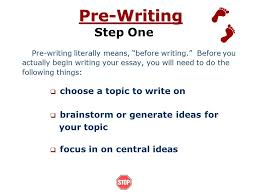 essay writing processthe writing process steps in writing an essay pre  writing     introduction what