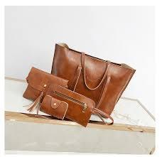 4PCS/Set <b>Women</b> Composite Bags Ladies <b>Handbags Female PU</b> ...
