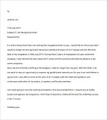 sample job resignation letter template     free documents in word    informal job resignation letter template