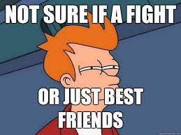 Not sure if a fight Or just best friends - Futurama Fry - quickmeme via Relatably.com