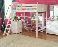 modern white stained wooden study deck under loft bunk bed bedroom loft bed desk combo