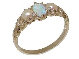 925 <b>Sterling Silver Real Genuine</b> Opal & Cultured Pearl <b>Womens</b> ...