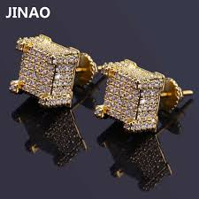JINAO Hip Hop Rock Earring Gold/Silver Color Iced Out Big Micro ...