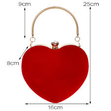 JULY'S SONG Evening <b>Bags Heart</b> Shaped Diamonds Red/Black ...