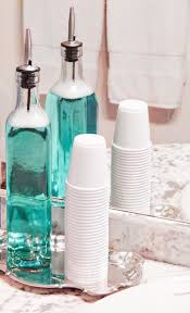 put mouthwash in a container with cups and on a cute tray for your bathroom beauty room furniture