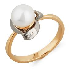 <b>Кольцо</b> из красного золота с <b>жемчугом</b> и бриллиантами, арт ...