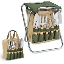 Picnic Time <b>5 Piece Garden</b> Tool Set With Tote And Folding Seat ...