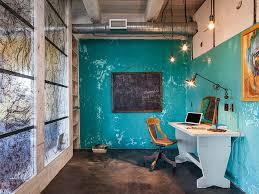 fabulous industrial style home office with as splash of blue from kuda photography blue home offices