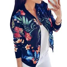 <b>LOSSKY</b> Retro <b>Floral Print Women</b> Coat Casual Zipper Up Bomber ...