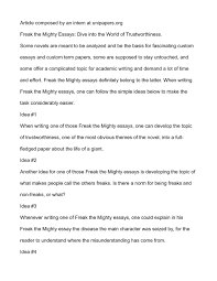 into the world essay calamatildecopyo freak the mighty essays dive into the world of