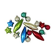16-Piece Set of Multi-Color Finial, Ball and Star Shaped Christmas ...